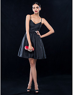 TS Couture Cocktail Party / Wedding Party Dress - Black Plus Sizes / Petite A-line Spaghetti Straps Short/Mini Taffeta