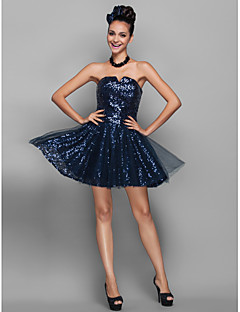 Homecoming Cocktail Party/Homecoming/Prom/Holiday Dress - Dark Navy Plus Sizes A-line/Princess Notched Short/Mini Sequined/Tulle