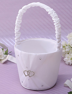 Heart To Heart Flower Basket In Ivory Satin Flower Girl Basket