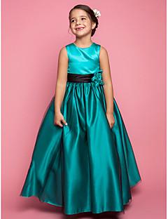 Lanting Bride A-line / Princess Floor-length Flower Girl Dress - Satin / Tulle Sleeveless Jewel with Flower(s)