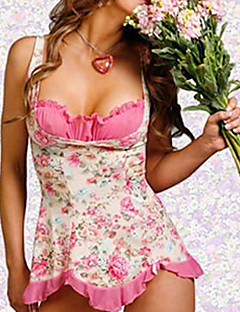Sweet Girl Pink Floral Polyester Sexy Uniform