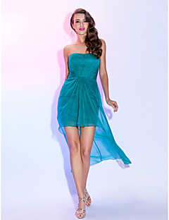 TS Couture Cocktail Party Dress - High Low Sheath / Column Strapless Asymmetrical Chiffon with Criss Cross