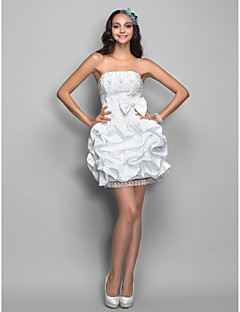 Cocktail Party / Homecoming / Holiday Dress - Ivory Plus Sizes / Petite A-line / Princess Strapless Short/Mini Lace / Taffeta