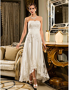 A-line Petite / Plus Sizes Wedding Dress - Ivory Asymmetrical Strapless Tulle