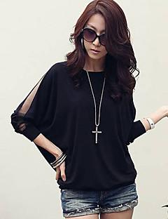 여성의 배트 윙 라운드 넥 얇은 메쉬 케이프 느슨한 셔츠 슬리브