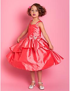 A-Line cinghie knee-lunghezza taffettà Flower Girl Dress (733.948)