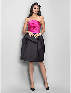 Homecoming Dress - Fuchsia Plus Sizes A-line/Princess Strapless Knee-length Satin