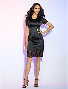 Cocktail Party / Holiday Dress - Black Plus Sizes / Petite Sheath/Column Jewel Knee-length Satin Chiffon / Lace