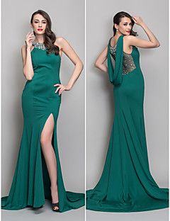 Militär Ball/Formeller Abend Kleid - Dunkelgrün Jersey - Meerjungfrau-Linie / Mermaid-Stil - Sweep / Pinsel Zug - U-Ausschnitt