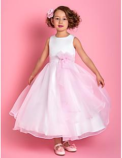tirantes una línea hasta los tobillos organza y satén vestido de niña de las flores (733.946)