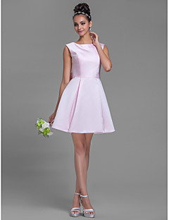 Short/Mini Satin Bridesmaid Dress - Blushing Pink Plus Sizes / Petite A-line Bateau