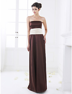 Floor-length Stretch Satin Bridesmaid Dress - Chocolate Plus Sizes A-line Strapless