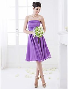 Lanting Bride® Mi-long Mousseline de soie Robe de Demoiselle d'Honneur - Trapèze Sans Bretelles Petite avec Ruché