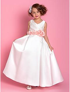 A-line Floor-length Flower Girl Dress - Satin V-neck with Flower(s) Side Draping