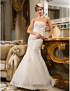Lanting Bride® Trumpet / Mermaid Petite / Plus Sizes Wedding Dress - Classic & Timeless / Glamorous & Dramatic Floor-length Strapless