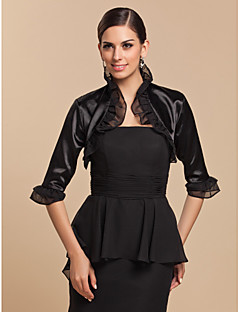 Long Sleeve Satin/Tulle Special Occasion Evening Jacket/Wedding Wrap(More Colors) Bolero Shrug