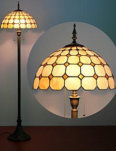Paddestoel Ontwerp Floor Lamp, 2 Licht, Tiffany Glas Resin Verfproces
