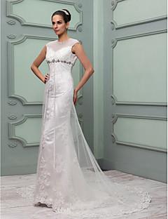 Lanting bruden kappe / kolonne petite / plus størrelser brudekjole-kapellet tog juvel tyl