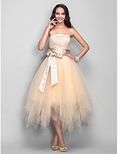 Homecoming Cocktail Party/Homecoming/Holiday Dress - Champagne Plus Sizes A-line Strapless Tea-length Tulle