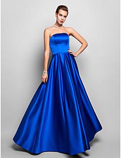 Fiesta formal/Fiesta de baile/Baile Militar Vestido - Azul Real Corte A Hasta el Suelo - Strapless Satén Tallas grandes