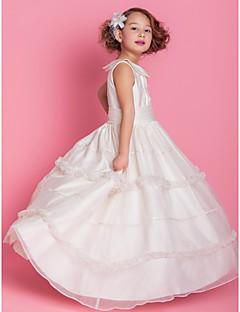 Lanting nevěsta ® alfa-line / plesové šaty podlahy délka květin šaty - organza / satén bez rukávů šperk withbuttons