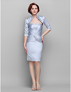 Lanting Bride Sheath / Column Plus Size / Petite Mother of the Bride Dress - Wrap Included Knee-length Half Sleeve Satin withAppliques /