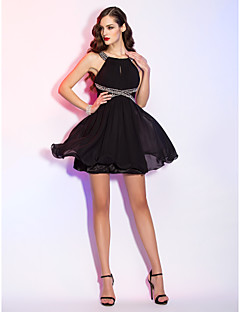 TS Couture® Cocktail Party / Homecoming / Holiday Dress - Short Plus Size / Petite A-line Scoop Short / Mini Chiffon with Beading / Draping / Lace