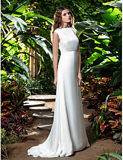 Lanting Bride Sheath/Column Petite / Plus Sizes Wedding Dress-Sweep/Brush Train Bateau Chiffon