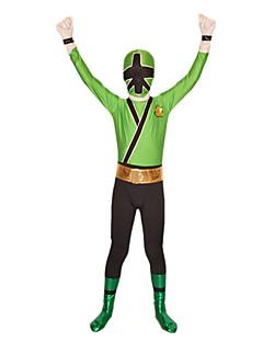 Zentai Suits Super Heroes / Soldier/Warrior Zentai Cosplay Costumes Black / Green Patchwork Leotard/Onesie / Zentai Spandex Lycra Kid