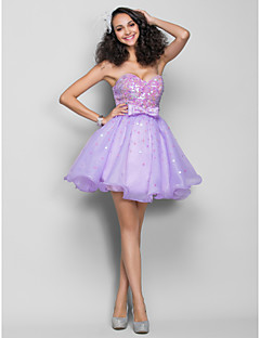 Homecoming Dress - Lilac Plus Sizes A-line Sweetheart Short/Mini Organza/Sequined