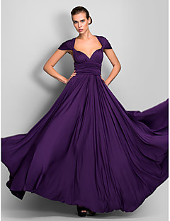 Lanting Bride® Floor-length Jersey Convertible Dress Bridesmaid Dress - A-line One Shoulder / Strapless / V-neck Plus Size / Petite with
