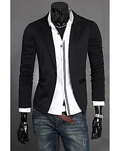男性用 プレイン カジュアル / フォーマル ブレザー,長袖 コットン混 / ウール混 ブラック / グレー
