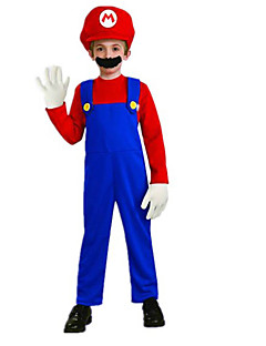 Cosplay Costumes / Party Costume Super Mario Red Polyester Kids' Costume with Beard (for Height 120-130cm)for Carnival