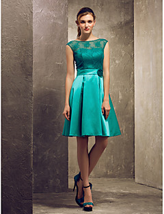 Lanting Knee-length Satin / Lace Bridesmaid Dress - Jade Plus Sizes / Petite A-line / Princess Bateau
