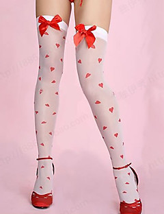 Sweet Girl Loving Heart Pattern Women's Vhristmas Stockings with Red Bow