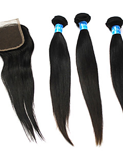 "22""+22""+22""+Lace Closure 20"" 6A Peruvian Virgin Remy Natural Straight Human Hair Weft Extensions"