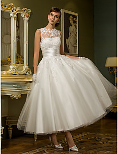 LAN TING BRIDE Princess Wedding Dress - Reception See-Through Ankle-length Jewel Tulle with Appliques Button Sash / Ribbon
