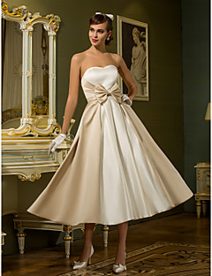 Lanting Bride® A-line Princess Petite Plus Sizes Wedding Dress - Chic & Modern Reception Little White Dresses Tea-length Sweetheart Satin