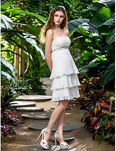 웨딩 드레스 - 아이보리(색상은 모니터에 따라 다를 수 있음) A 라인 무릎 길이 튜브탑 쉬폰 플러스 사이즈