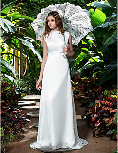 Lanting Sheath/Column Plus Sizes Wedding Dress - Ivory Sweep/Brush Train Bateau Chiffon