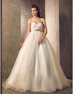 vestido de bola lanting novia de la boda pequeña / más tamaños de tul vestido de novia de tren de la cancha