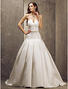 LAN TING BRIDE A-Linie Svatební šaty - Elegantní & luxusní Okouzlující & dramatické Retro Velmi dlouhá vlečka Bez ramínek Satén sMašle