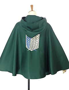 Inspireret af Attack on Titan Levy Anime Cosplay Kostumer Cosplay Toppe / Bottoms Patchwork Grøn Kappe