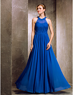 Floor-length Chiffon Bridesmaid Dress - Royal Blue Apple / Hourglass / Inverted Triangle / Pear / Rectangle / Plus Sizes / Petite / Misses