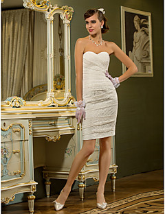 Lan Ting Sheath/Column Plus Sizes Wedding Dress - Ivory Short/Mini Sweetheart Lace