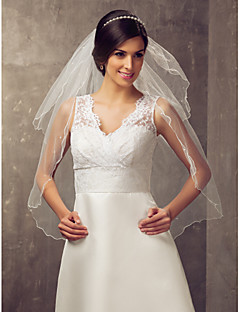 Two-tier Elbow Wedding Veil With Pencil Edge And Beading(More Colors)