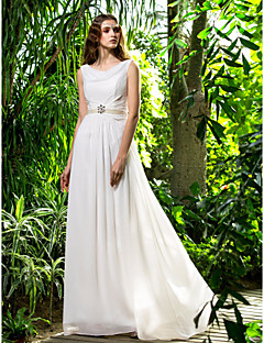 Sheath / Column Cowl Sweep / Brush Train Chiffon Wedding Dress with Crystal Pearl Sash / Ribbon Side-Draped by LAN TING BRIDE®