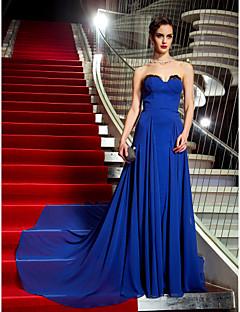 포멀 이브닝 / 밀리터리 볼 드레스 - 빈티지 스타일 A-라인 끈없는 스타일 스윕 / 브러쉬 트레인 조젯 와 레이스