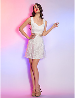 Homecoming Cocktail Party/Graduation/Holiday/Homecoming Dress - Ivory Plus Sizes A-line Straps Short/Mini Lace