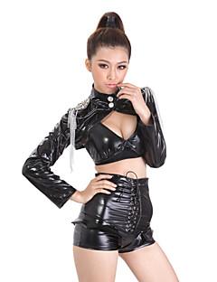 Cool Girl Zwarte PU Leather Women's Nightclub Sexy Uniform